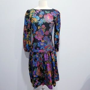 Vintage 80's retro floral print dress